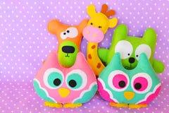 Crafts out of felt. Felt toy owl, bear, cat, giraffe. Cute felt crafts Stock Photography