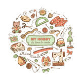 Crafts poster. Hobby time. Circle from hand made tools. Doodle illustration. Craft items isolated on white background Royalty Free Stock Photos