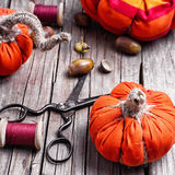 Crafts with pumpkins Royalty Free Stock Image