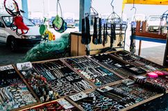 Sale of crafts. Crafts sale at the Pescadores Beach in Chorrillos, Lima - Peru Stock Photos