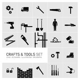 Crafts and tools icon set black and white Stock Image