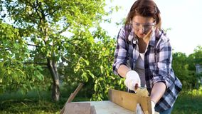 Crafts woman scratches old wooden plank and blows off dust in summer garden. Female doing carpentry job. diy, furniture, hobby stock video