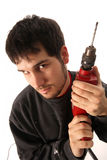 Craftsman with borer Royalty Free Stock Photos