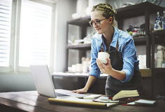Craftsman Browsing Laptop Connection Technology Concept Stock Image