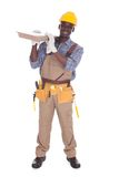 Craftsman carrying floor tiles Stock Photo