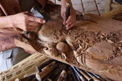 Craftsman carving wood. Thai art Stock Photo