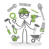 Craftsman. Craftsmen with many different tools Royalty Free Stock Photos