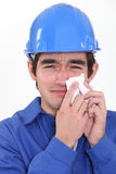 Craftsman crying Royalty Free Stock Image