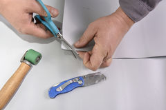 Craftsman cuts angle Royalty Free Stock Photos