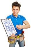 Craftsman drawing blueprint Stock Photos