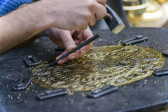 Craftsman Engraving Plate Royalty Free Stock Photography