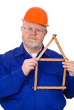 Craftsman with folding rule Royalty Free Stock Photo