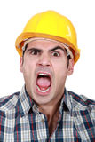 Craftsman having fit of anger Royalty Free Stock Images