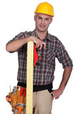 Craftsman holding a board Stock Photos
