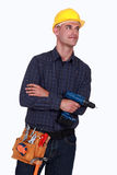 Craftsman holding a drill Royalty Free Stock Photo