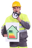 Craftsman holding a megaphone Stock Photography