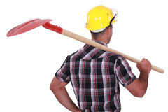 Craftsman holding a shovel Stock Photos