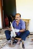 Craftsman in India bending Bamboo Royalty Free Stock Photos