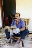 Craftsman in India bending Bamboo Royalty Free Stock Photography