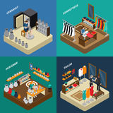 Craftsman Isometric Compositions. With potter and designer with ceramics seamstress and tailor with clothing  vector illustration Royalty Free Stock Photo