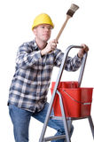 Craftsman on a ladder with a brush Stock Photos