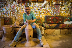Craftsman make pottery. Master craftsman makes pottery on a wheel,Avanos Turkey Stock Image