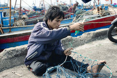 Craftsman Making A Fish Net in Da Nang Stock Image