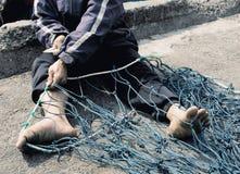 Craftsman Making A Fish Net, Da Nang Stock Photography