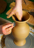 Craftsman Making Vase From Fresh Wet Clay Royalty Free Stock Photography