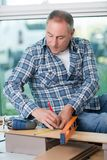 Craftsman measuring plank wood with spirit level. Craftsman measuring a plank of wood with a spirit level Stock Images