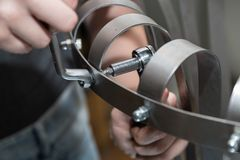Metal worker with box wrench and ring spanner - closeup royalty free stock photos