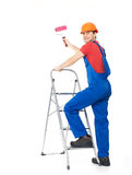 Craftsman painter stands on the stairs Royalty Free Stock Photography