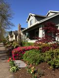 Craftsman Praire-style homes with Arts & Crafts detailing. Homes in Orenco Station, Hillsboro Oregon are typical of Craftsman, or  Praire-style homes with Arts royalty free stock image