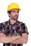 Craftsman with safety helmet Royalty Free Stock Images