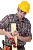 Craftsman sanding Royalty Free Stock Images
