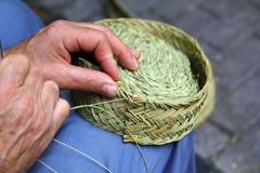 Craftsman sewing basket esparto grass weaver. From Spain Royalty Free Stock Image