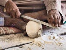 Craftsman shaping alabaster Stock Photos