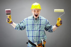 Craftsman shouting stock photos