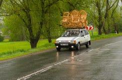 Craftsman shows  transportation method of wicker-work Stock Image