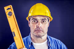 Craftsman with spirit level Royalty Free Stock Photography