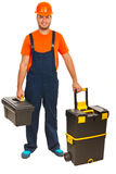 Craftsman with tool boxes Stock Image