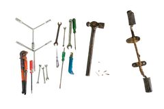 Craftsman tools with foot pegs part of motorcycle isolated on wh. Ite background Royalty Free Stock Photos