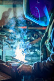 Craftsman weld steel. Craftsman with mask  weld steel Royalty Free Stock Photo