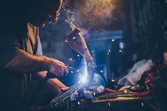 Craftsman weld steel. Royalty Free Stock Images