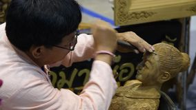 Craftsman wood carving. stock video