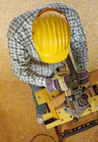 Craftsman work. Fine image of carpenter at work view from above Stock Photos