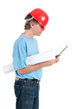 Craftsman at work. With tablet isolated over white background stock photography