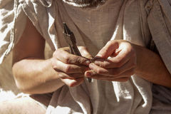 Craftsman at work. Craftsman's hands with instument. Master is making something Stock Photos