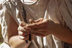 Craftsman at work. Craftsman's hands with instument. Master is making something Stock Photo
