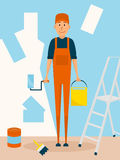Craftsman worker paint the wall. Vector cartoon character in flat style design. Painter man holds paintroller and paint. Bucket Stock Photos